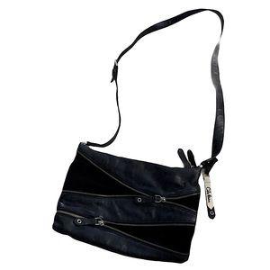 COLE HAAN black leather suede ZIPPERS Crossbody